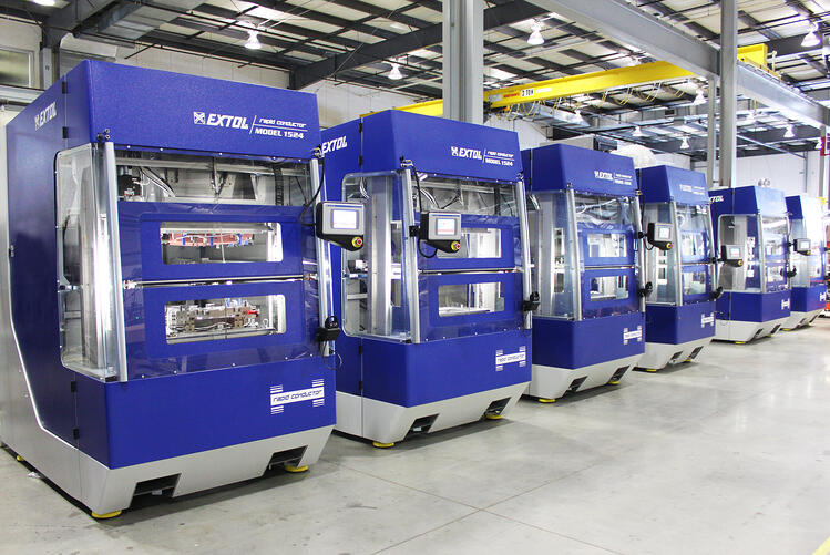 Rapid Conductor hot plate welders lined up in a row